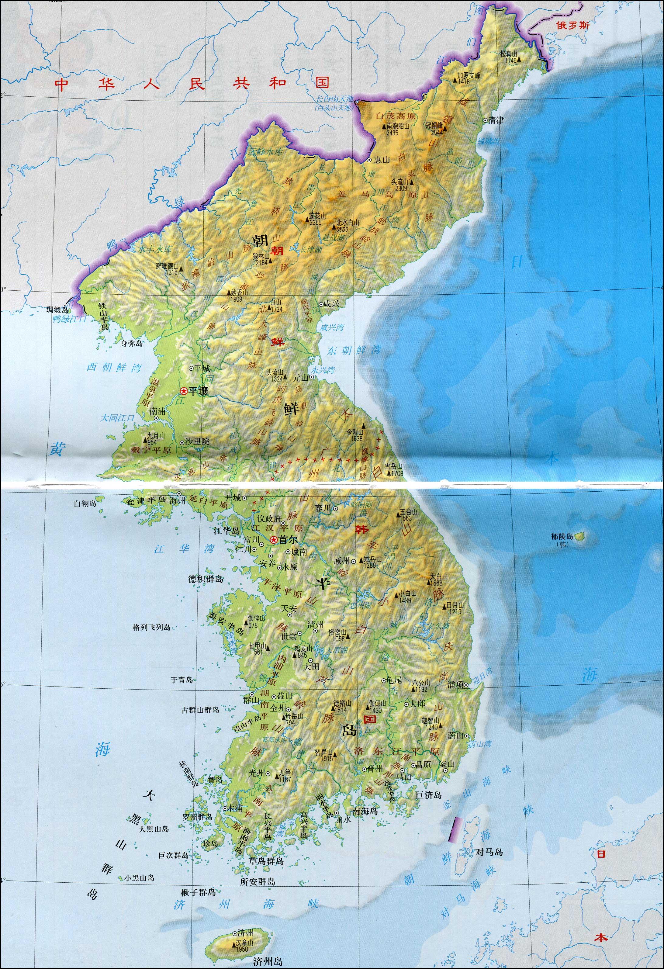 朝鲜半岛地图