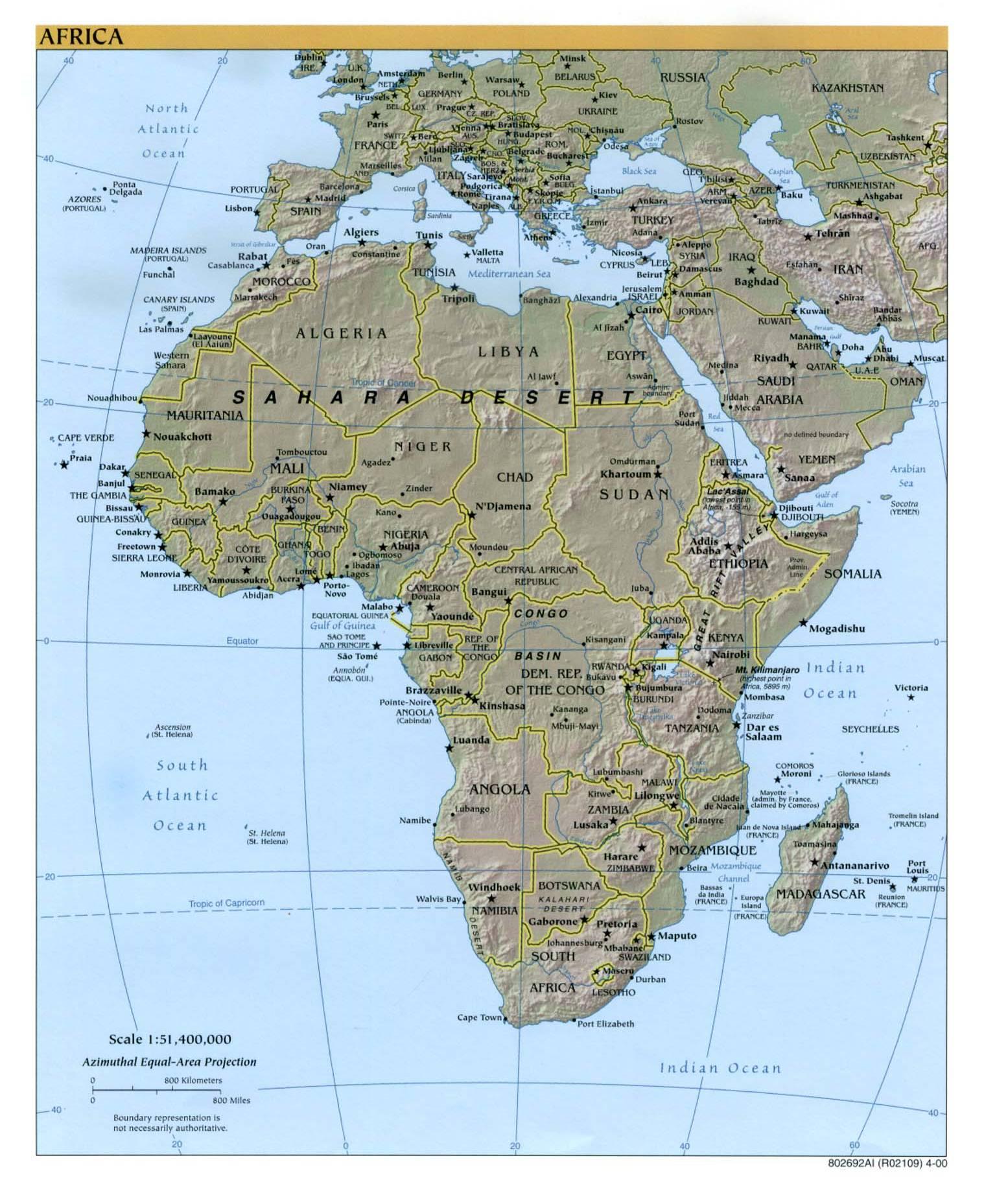 非洲地形图高清版大地图