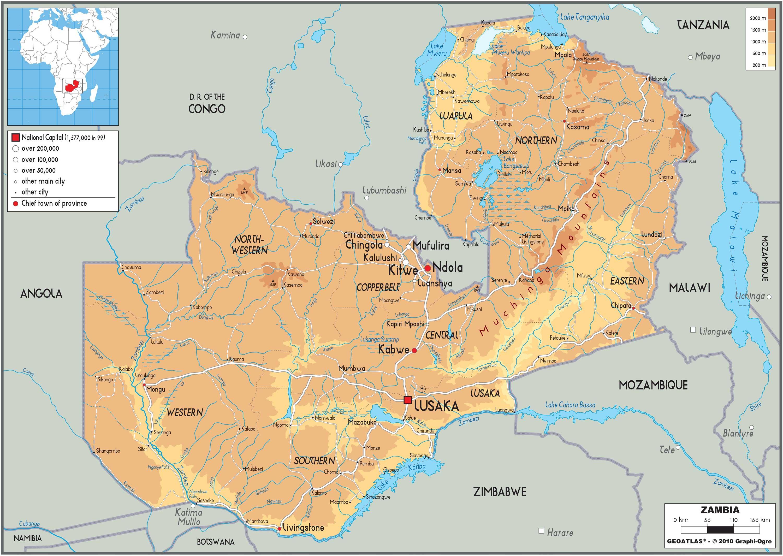 赞比亚旅游地图英文版