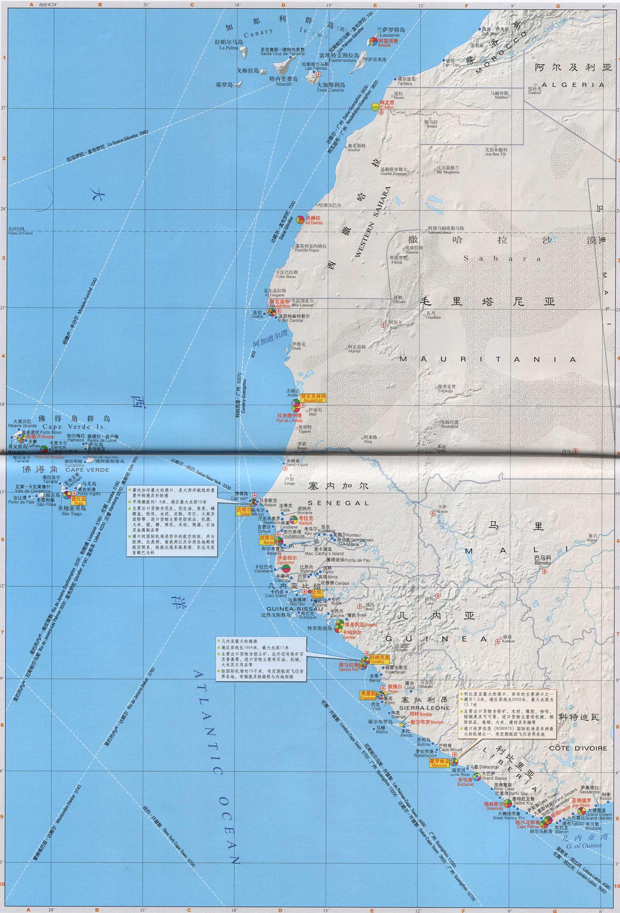 非洲西部沿海港口分布图_交通地图库_地图窝
