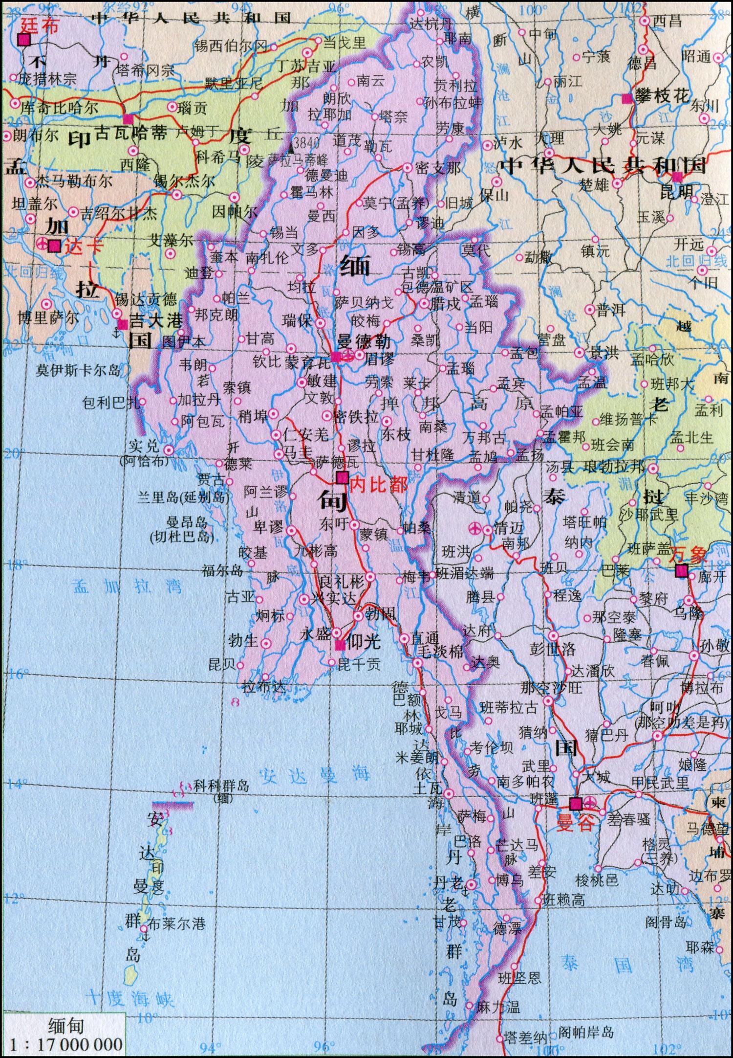 缅甸地图中文版高清大图