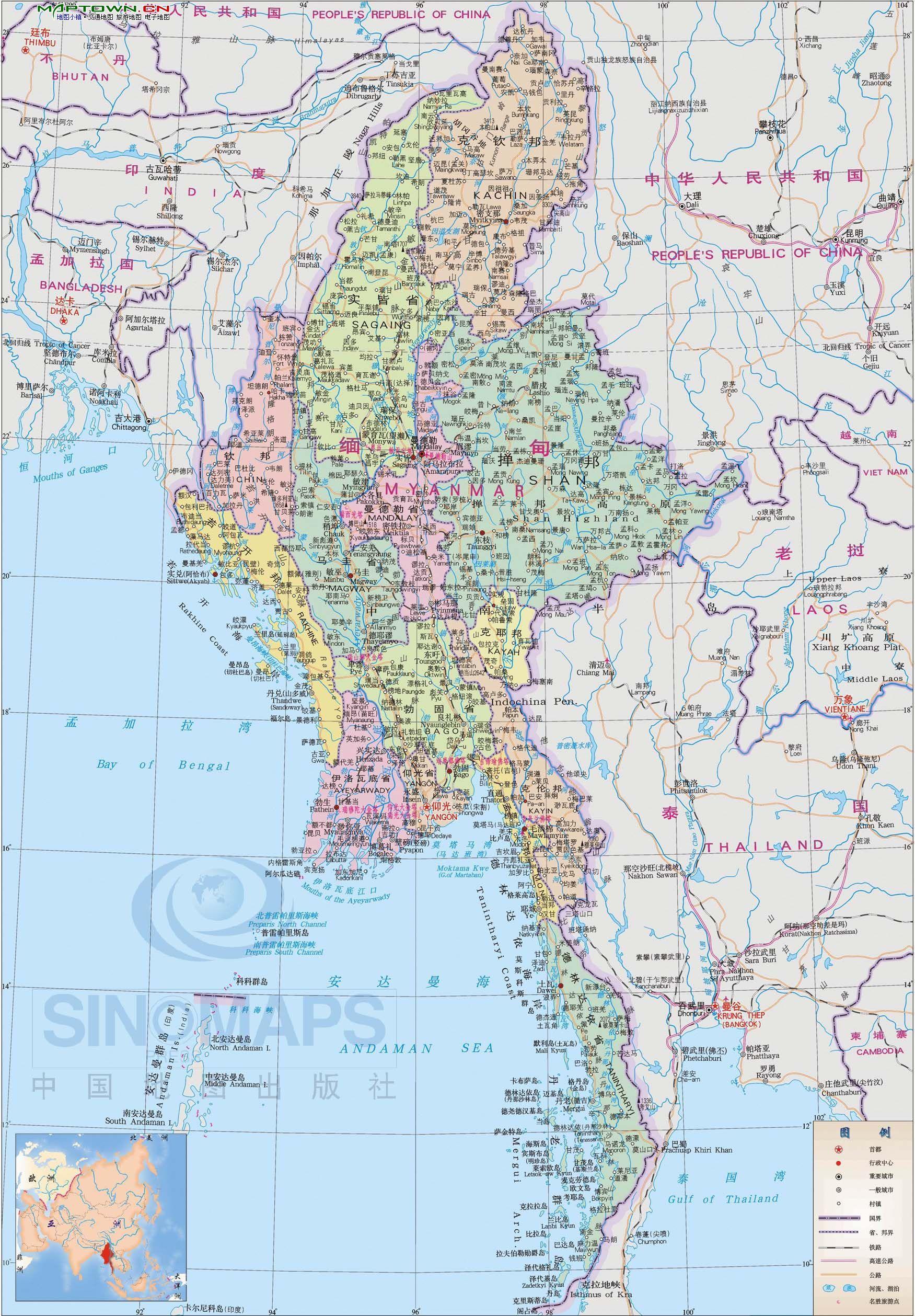 黎巴嫩地图_缅甸分省地图中文版_缅甸地图库