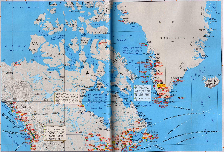 加拿大格陵兰南部港口分布图