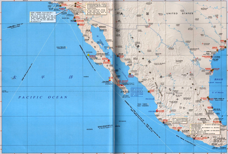 美国南部主要哹n_美国西南部,墨西哥西部沿海地区港口分布图