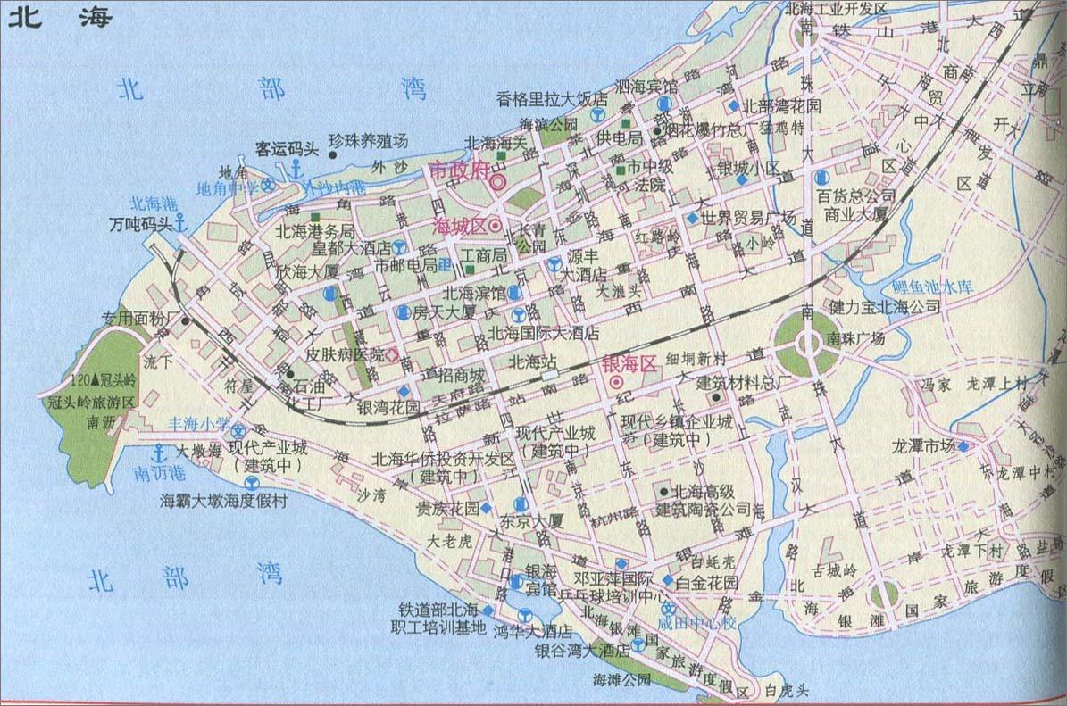 广西北海旅游地图内容|广西北海旅游地图版面设计