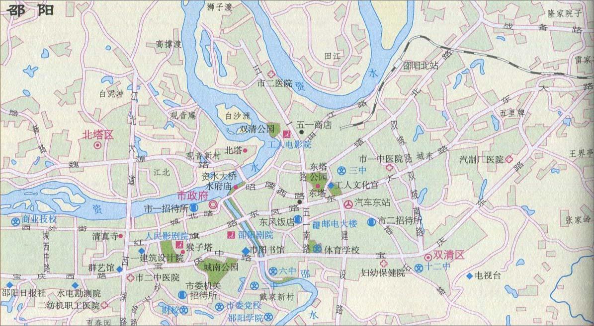 地图库 中国 湖南 邵阳 >> 邵阳城区旅游地图