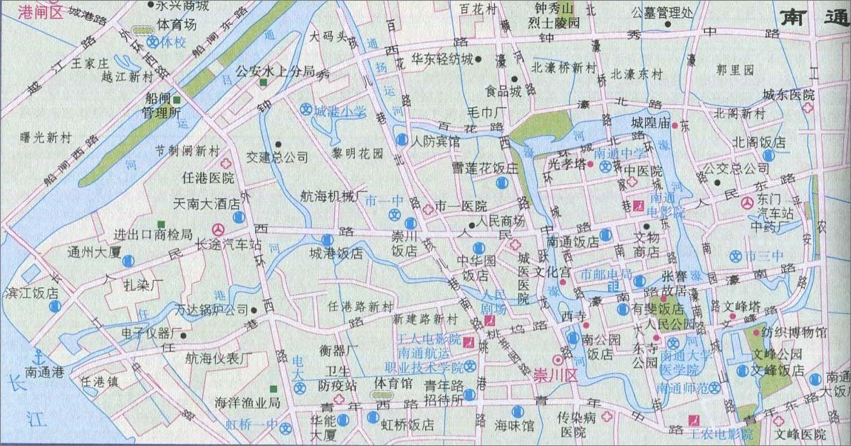 南通城区旅游地图