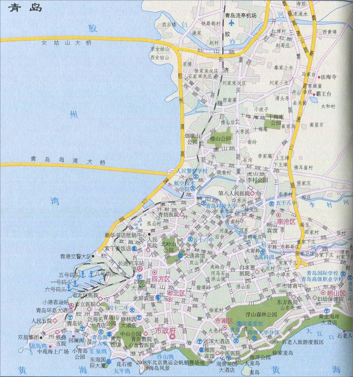 青岛城区旅游地图_青岛地图库