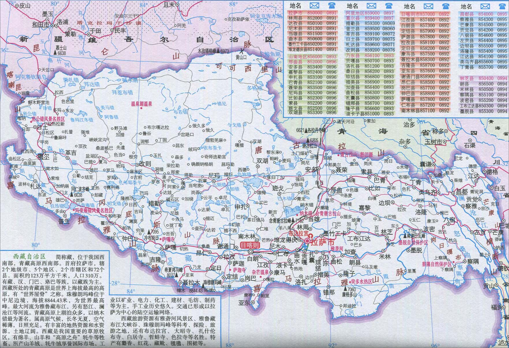 西藏交通旅游地图