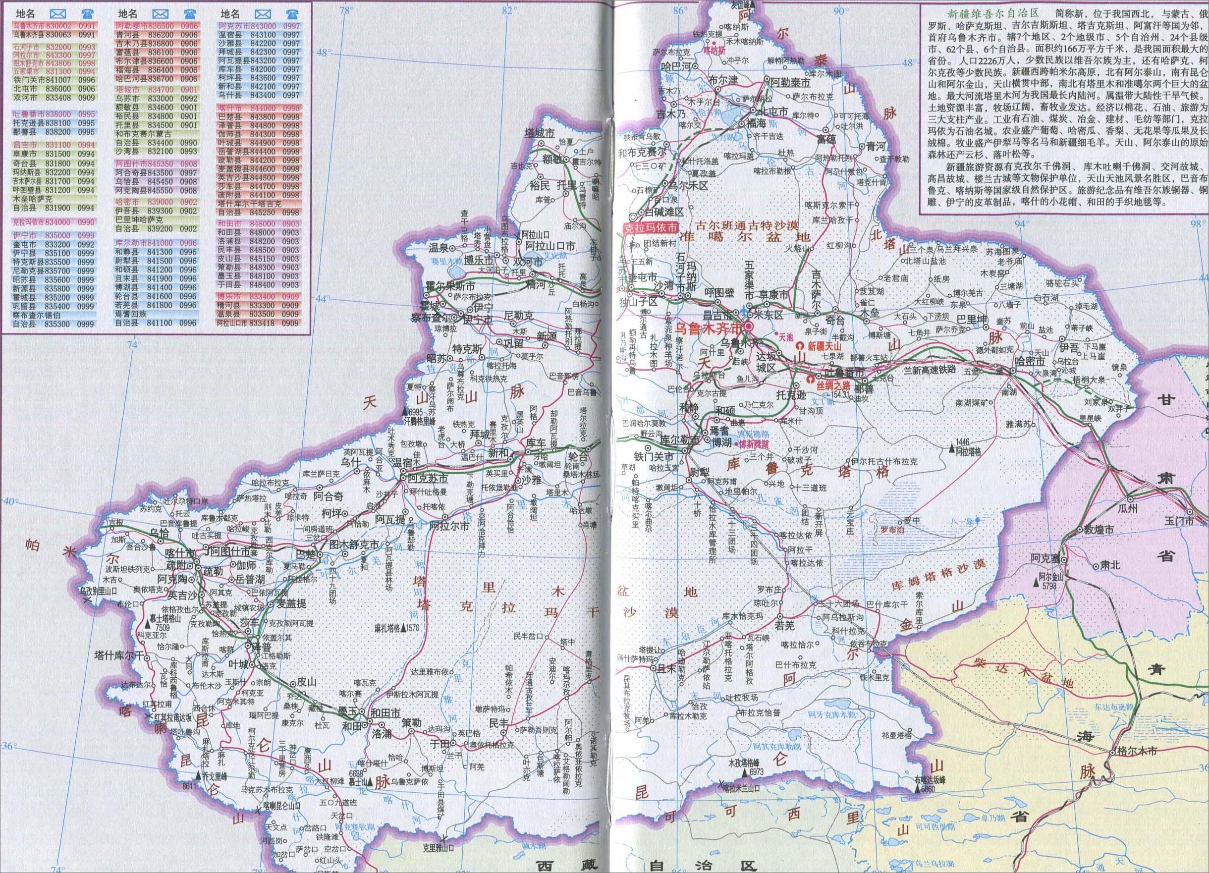 新疆城区旅游地图