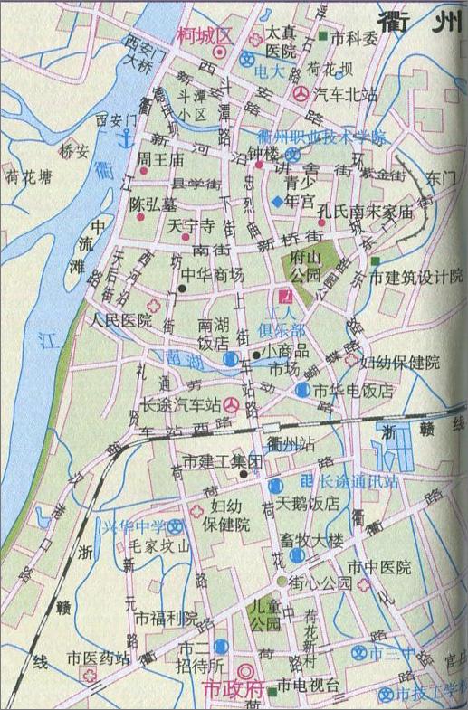 衢州城区旅游地图