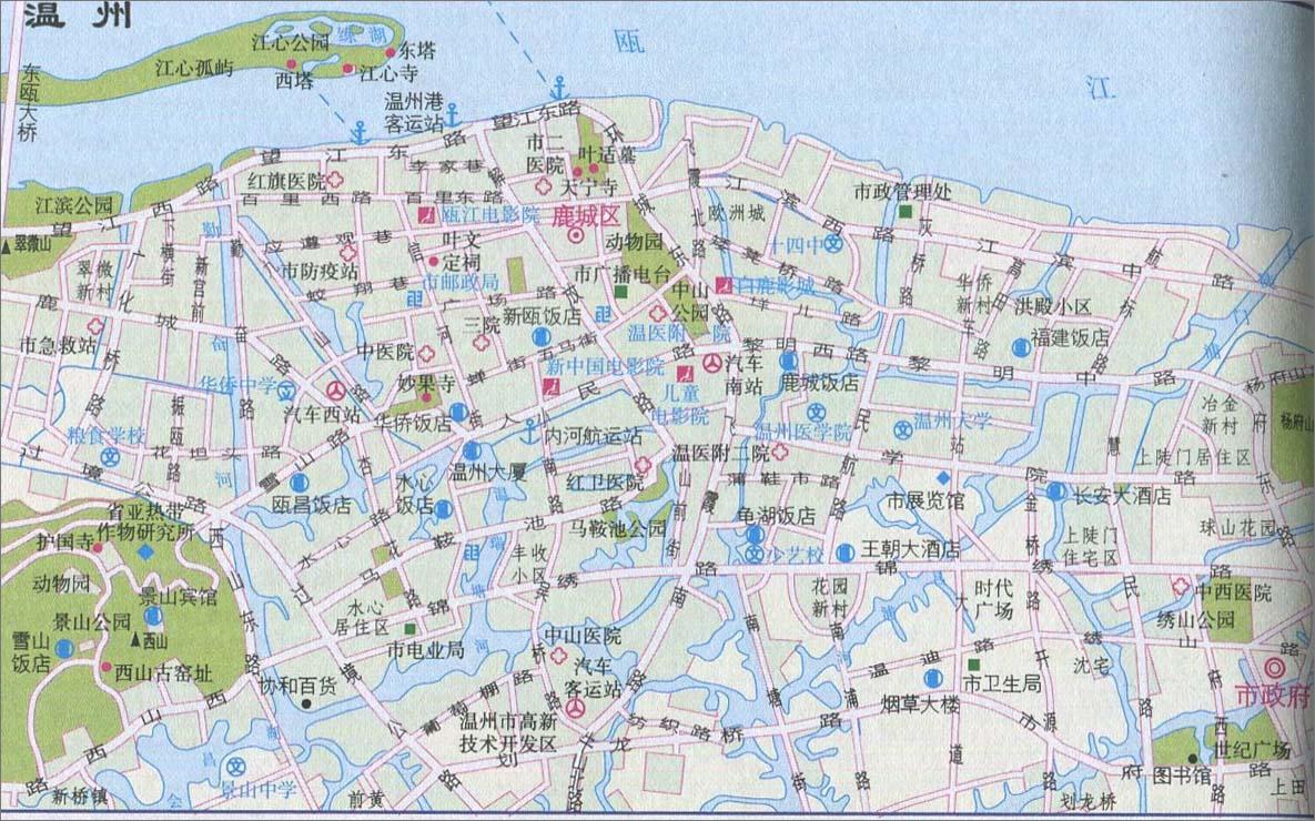 温州城区旅游地图