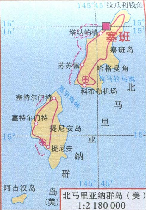 北马里亚纳群岛旅游地图