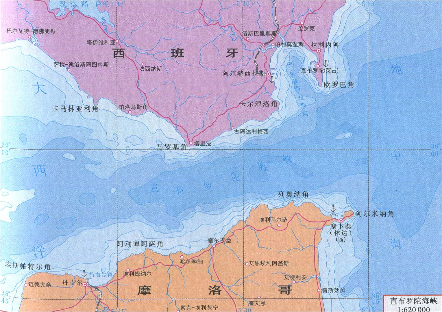 直布罗陀海峡旅游地图