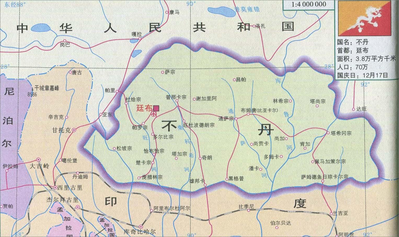 不丹旅游地图