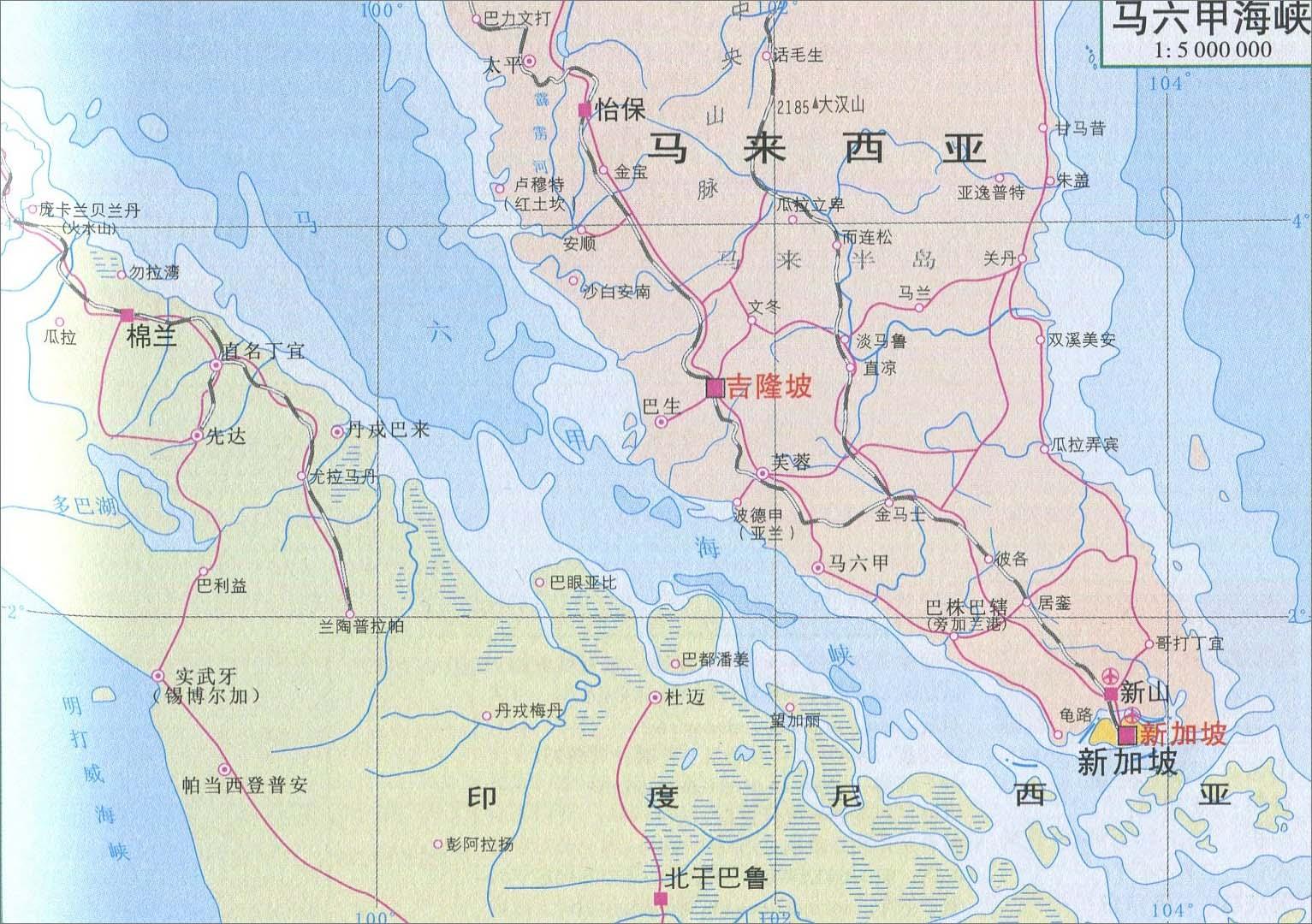 马六甲海峡旅游地图