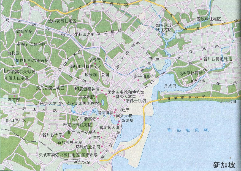 新加坡城区旅游地图