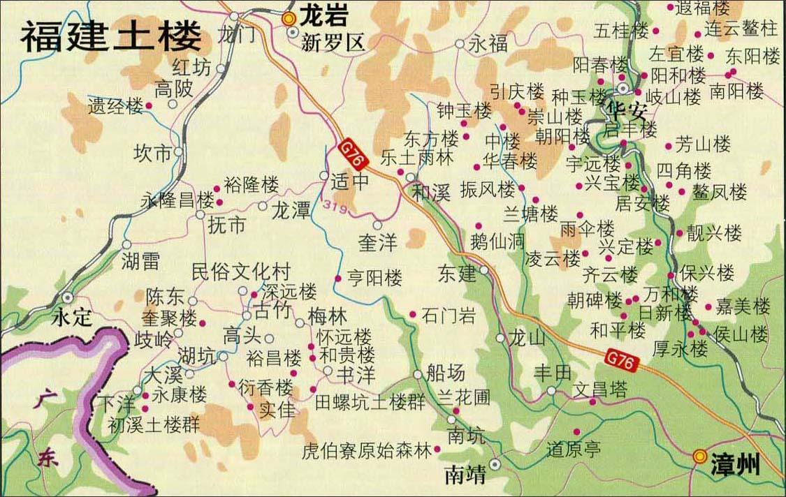 福建土楼旅游地图_福建旅游地图库