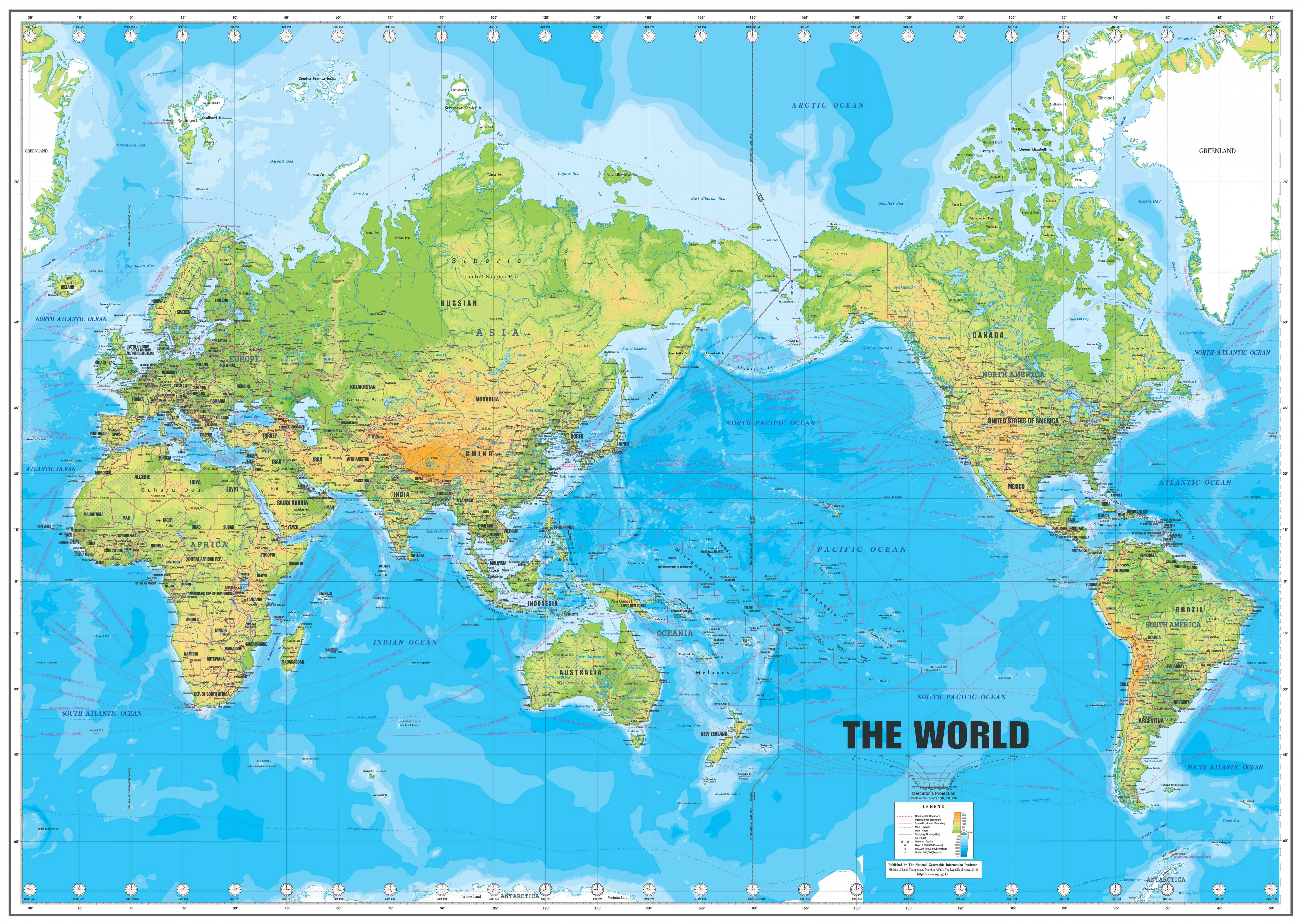 世界地图英文版高清版