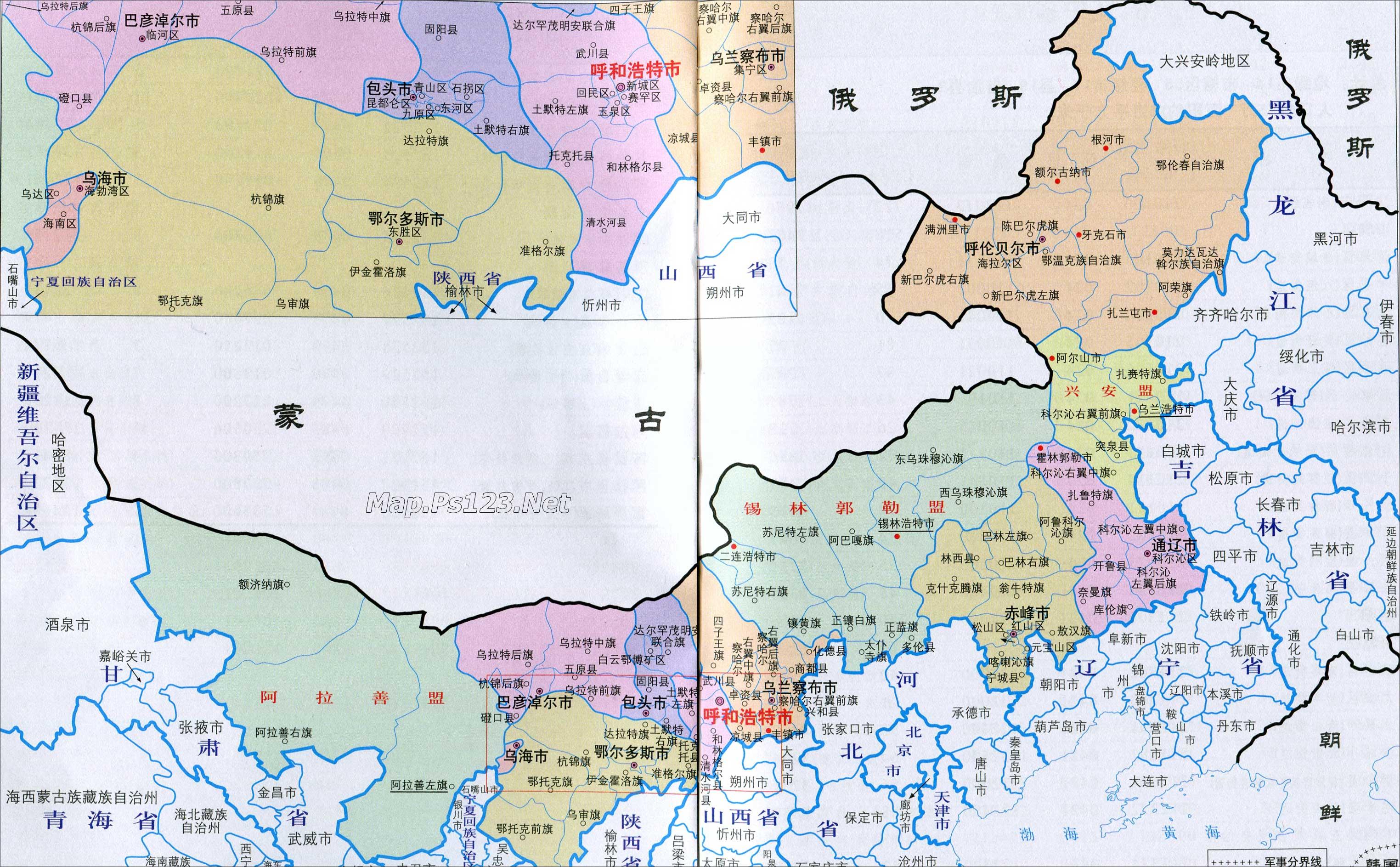 内蒙古行政区划简图