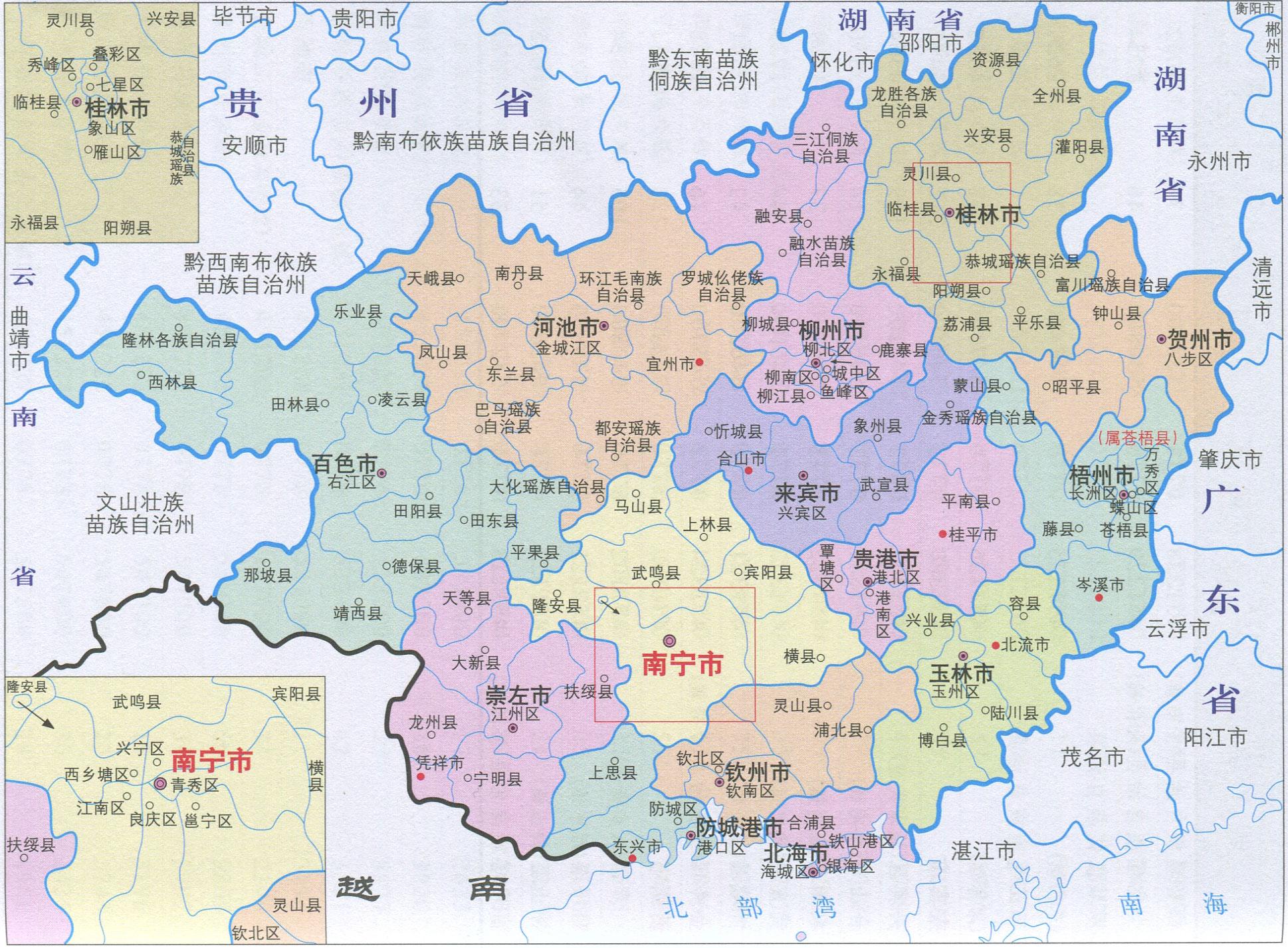 广西行政区划简图