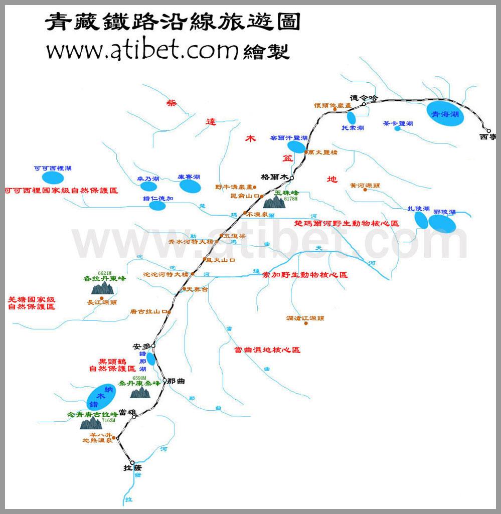 青藏铁路沿线旅游线路图_中国地图地图库