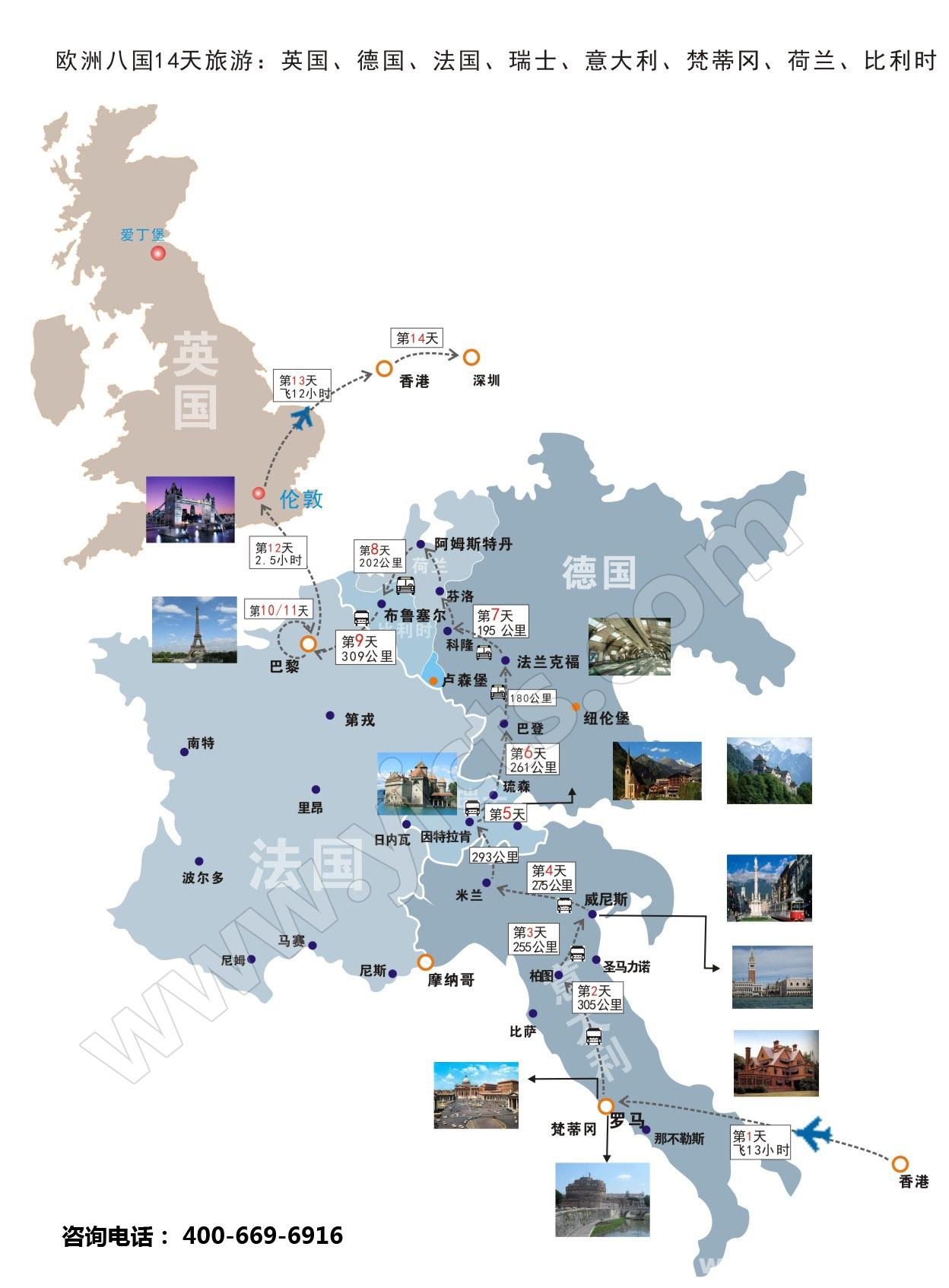 欧洲八国14天旅游路线图