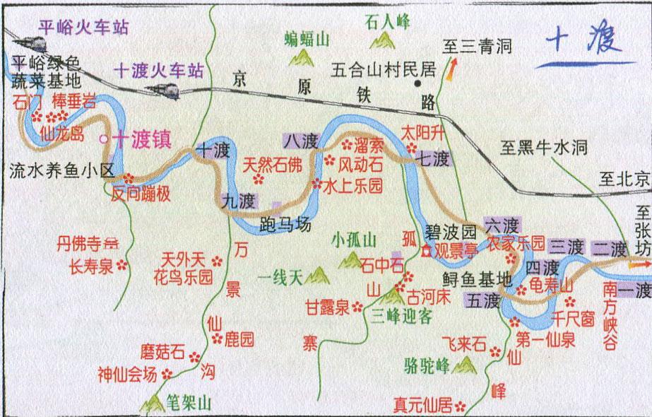 十渡景点导游图_北京旅游地图库