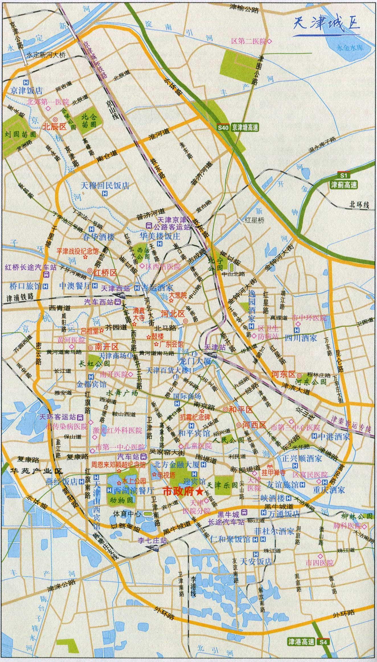 天津城区旅游交通地图