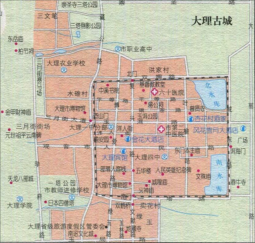 大理古城景点导游图_云南景点地图库