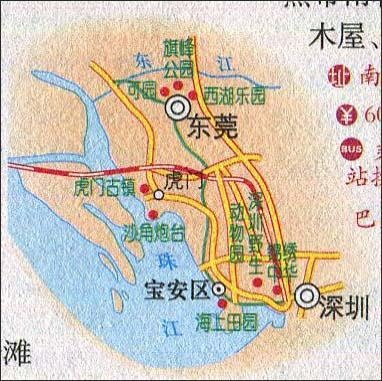 深圳至东莞旅游路线图