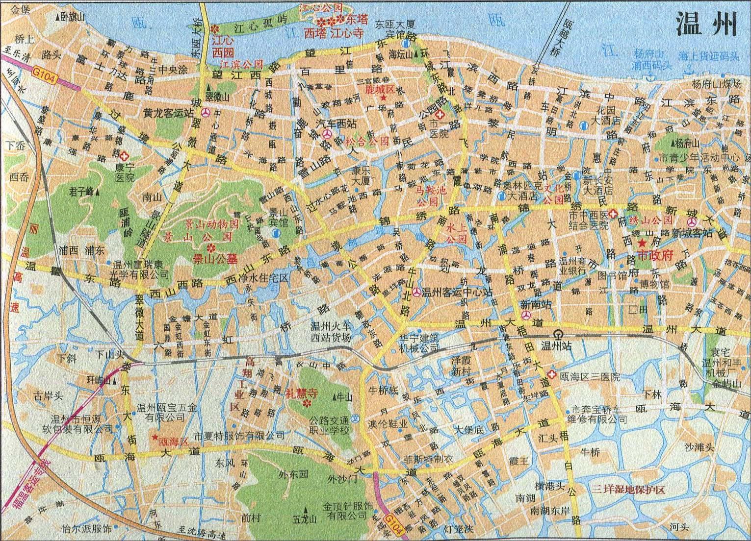 绍兴主要景点手绘地图