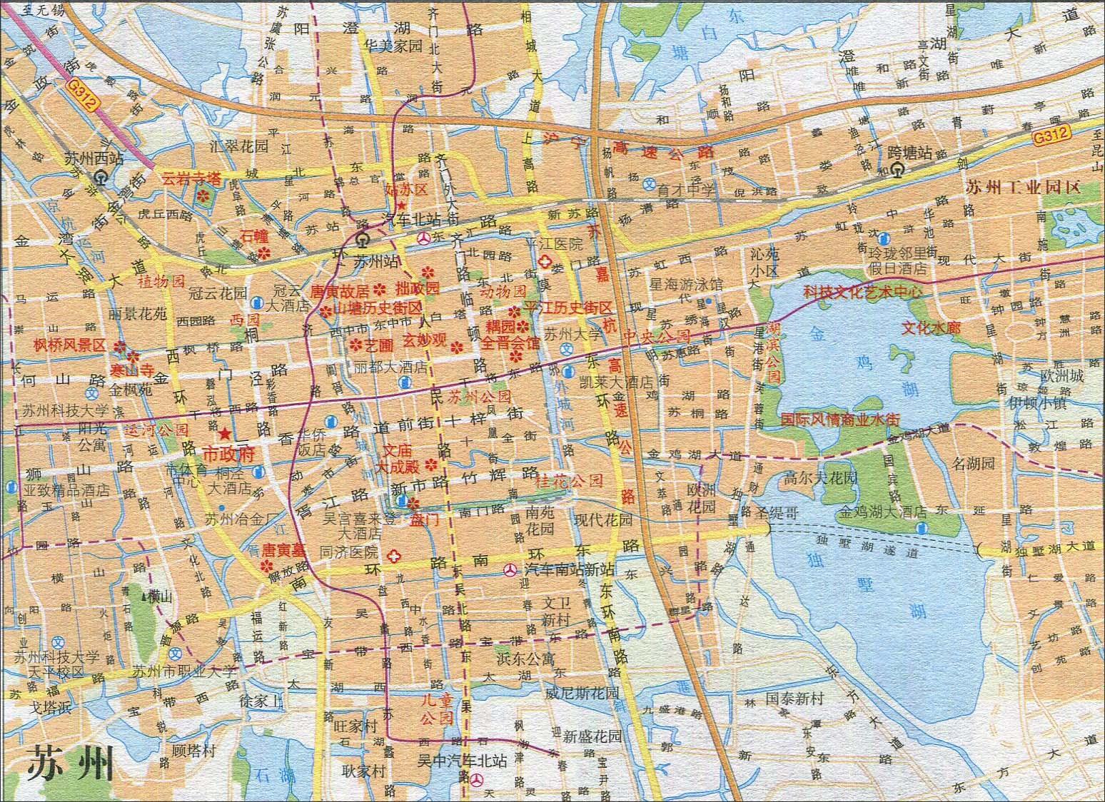 苏州旅游交通地图图片