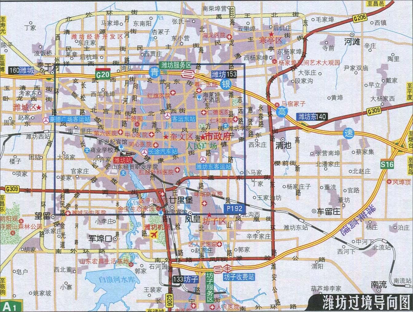 临沂地图交通图_潍坊过境导向图_山东旅游地图库_地图窝