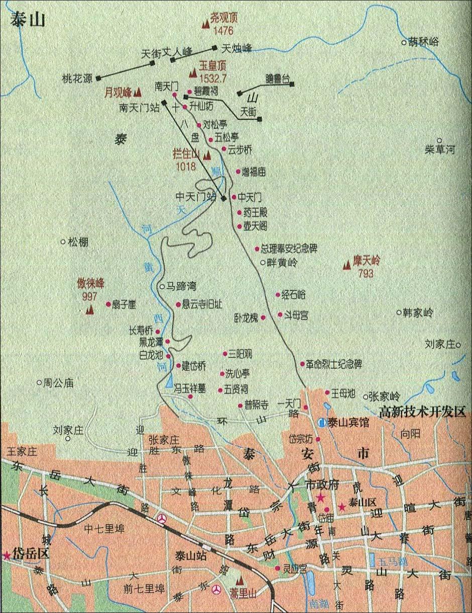 泰山景点导游图_山东旅游地图库_地图窝