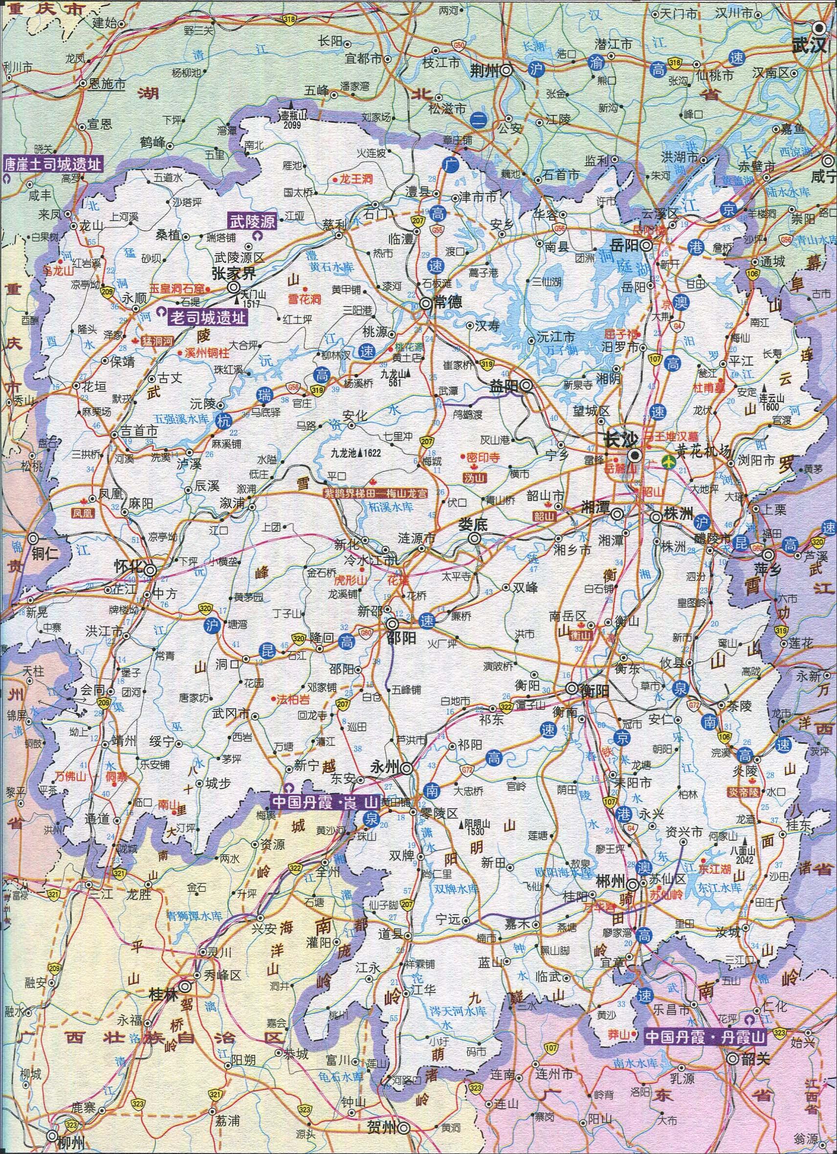 地图库 旅游地图 湖南旅游 >> 湖南省旅游交通地图  景点导航:世界
