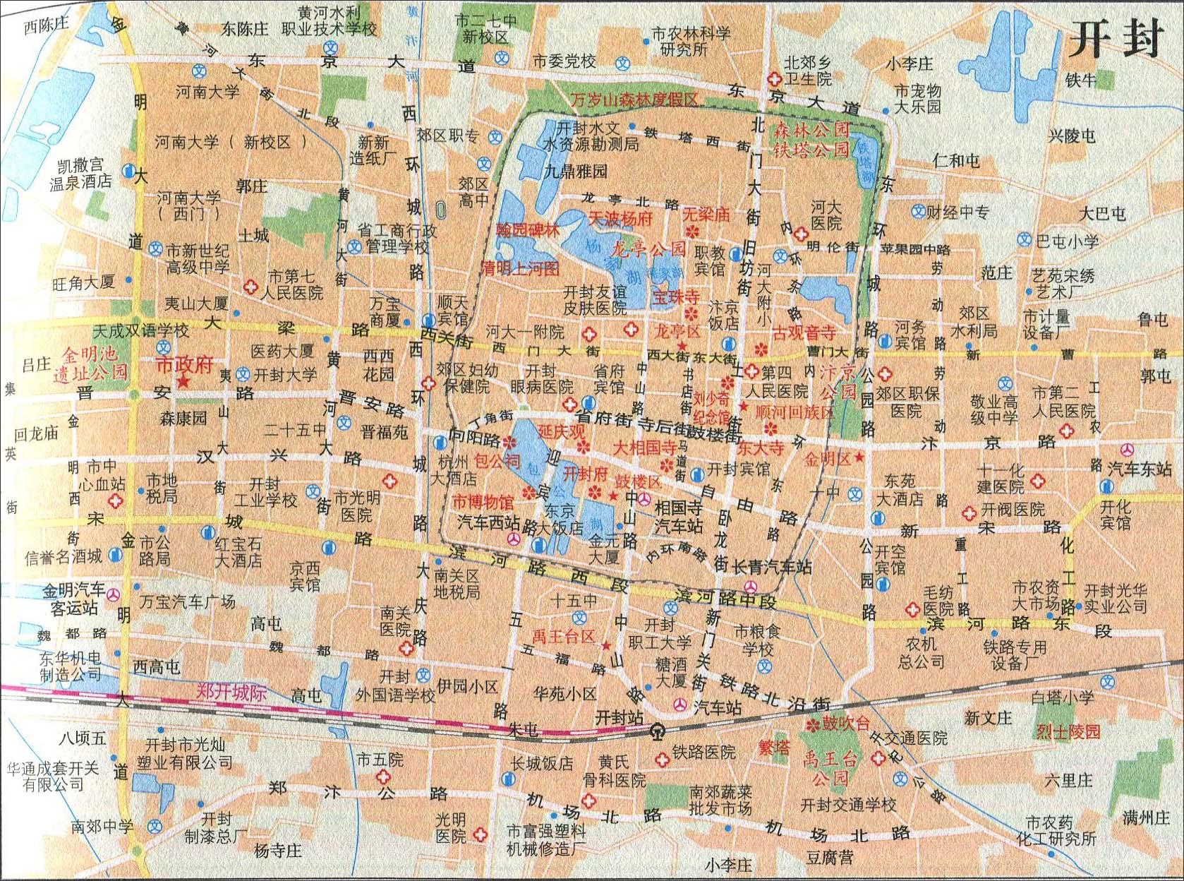 地图库 旅游地图 河南旅游 >> 开封旅游交通地图  景点导航:世界旅游