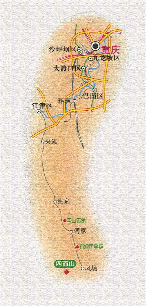重庆至四面山旅游路线图_重庆景点地图库