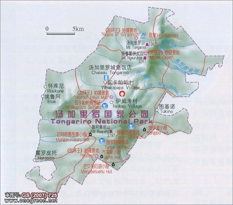 汤加里罗国家公园地图