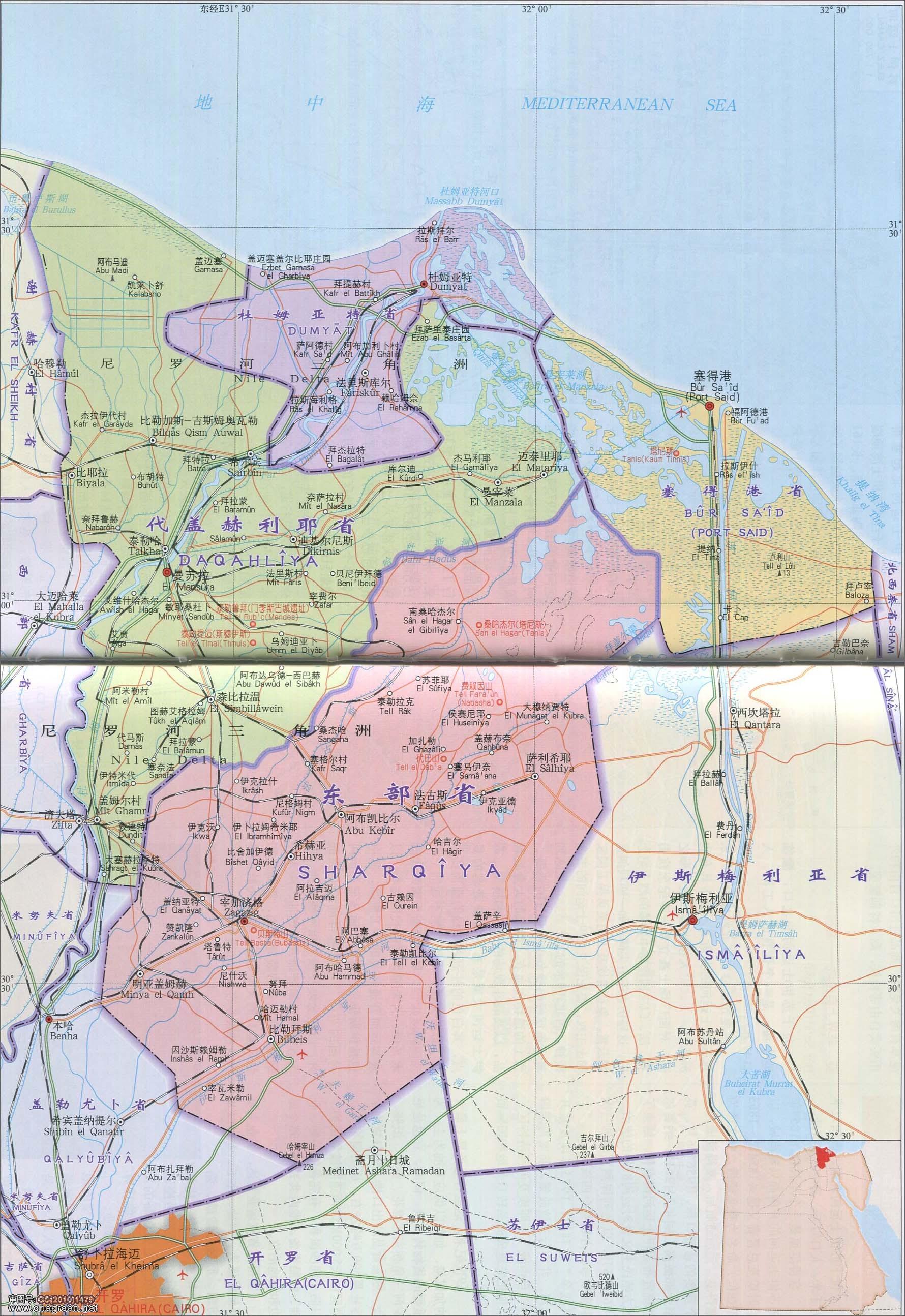 塞得港省杜姆亚特省代盖赫利耶省东部省地图图片