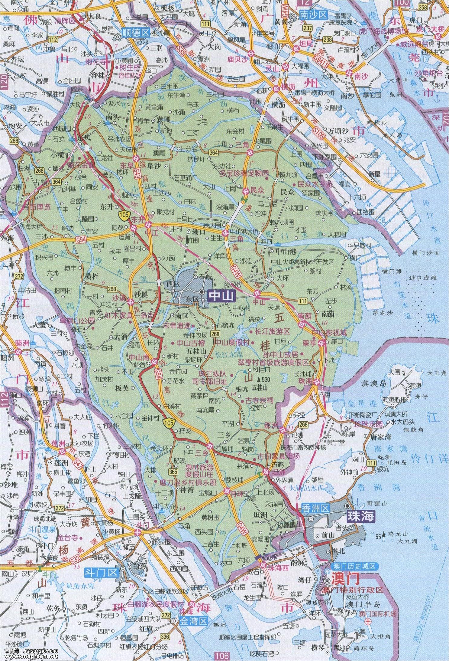 中山市地图高清版 中山地图库 地图窝图片