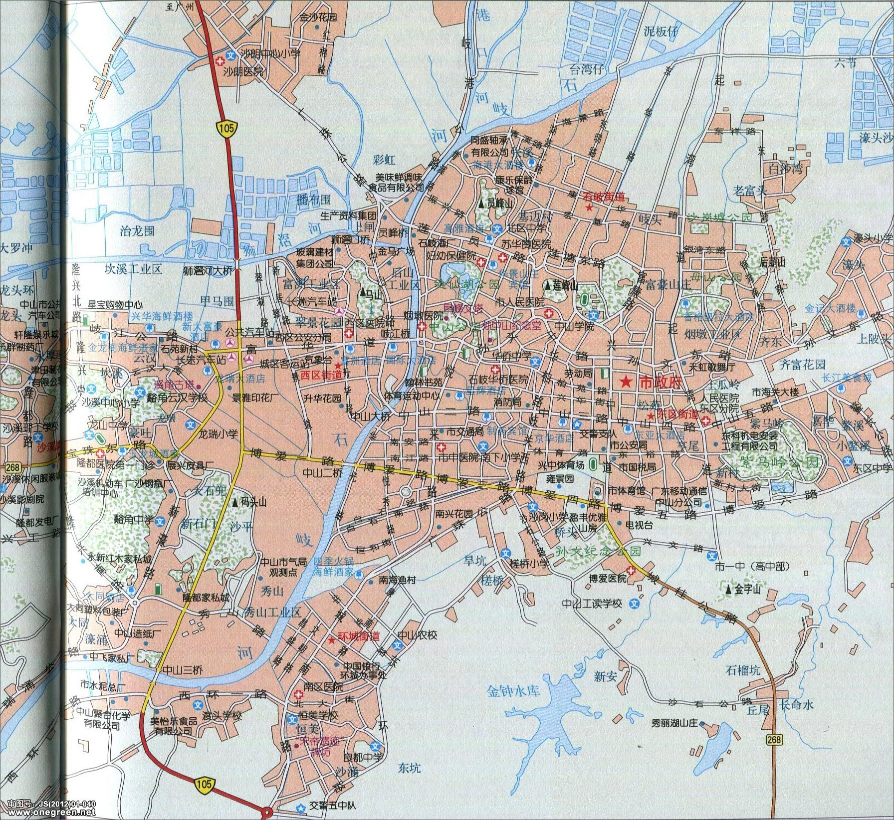 中山市城区地图