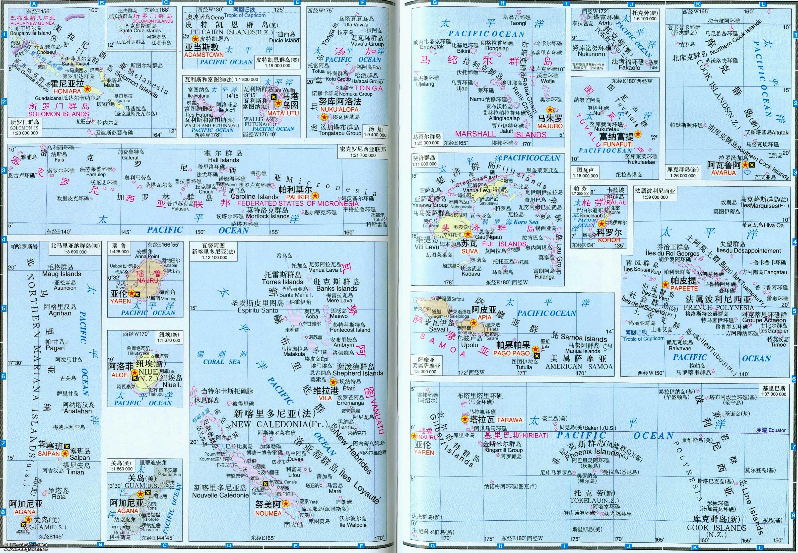地图库 世界地图 海洋 >> 太平洋主要岛屿地图