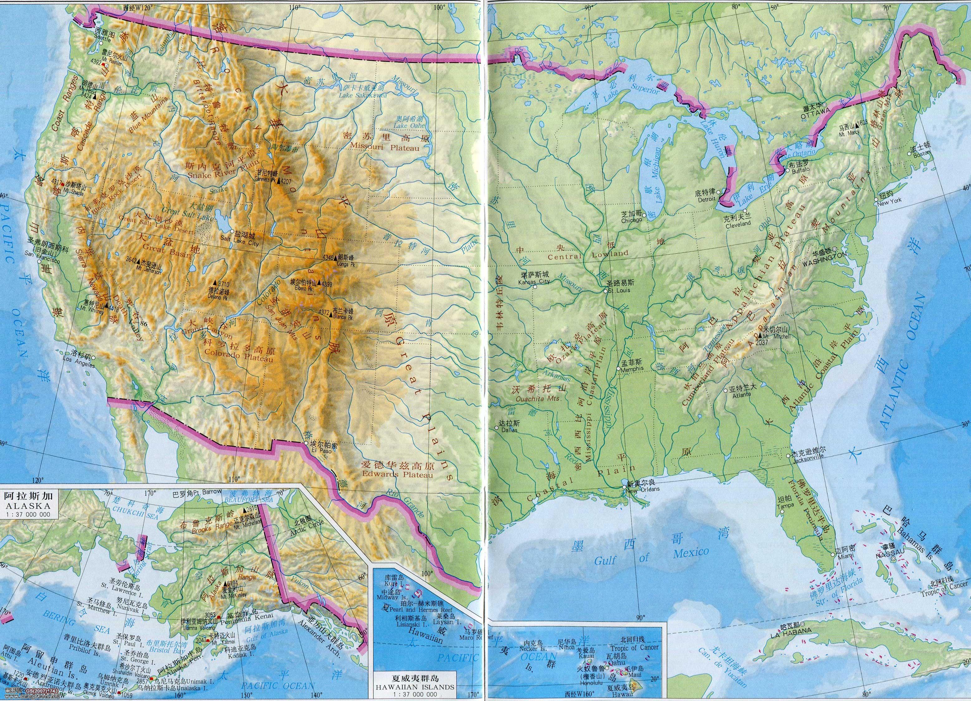 美国地形图地图