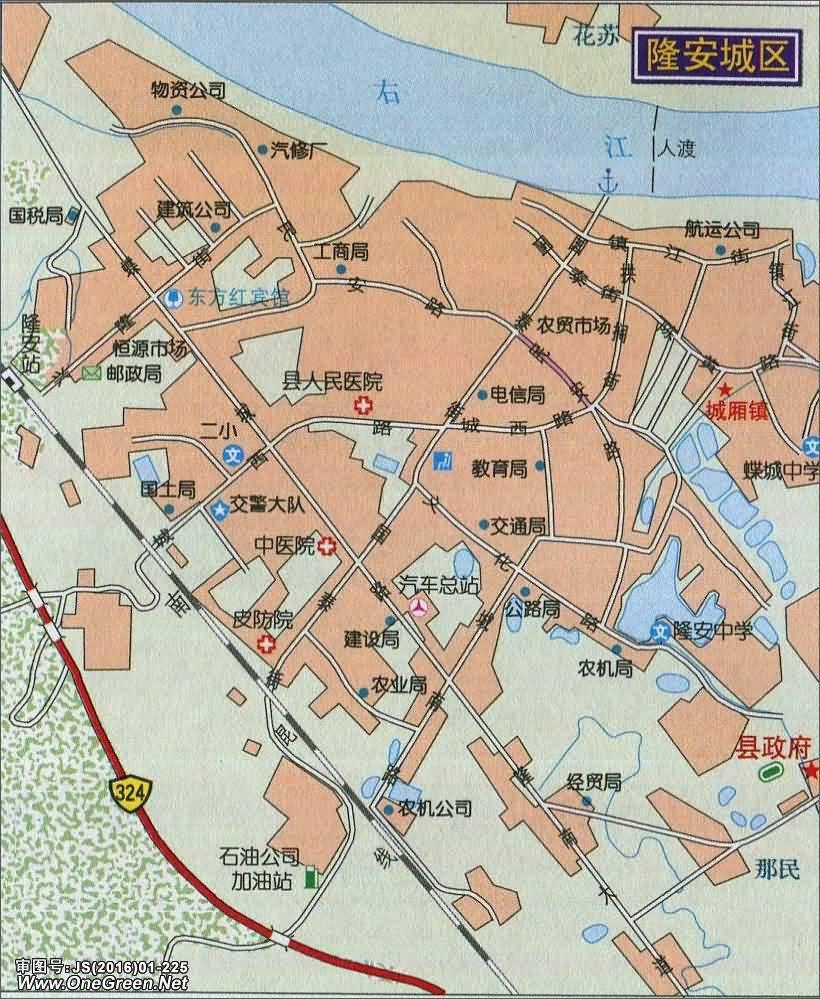隆安城区地图