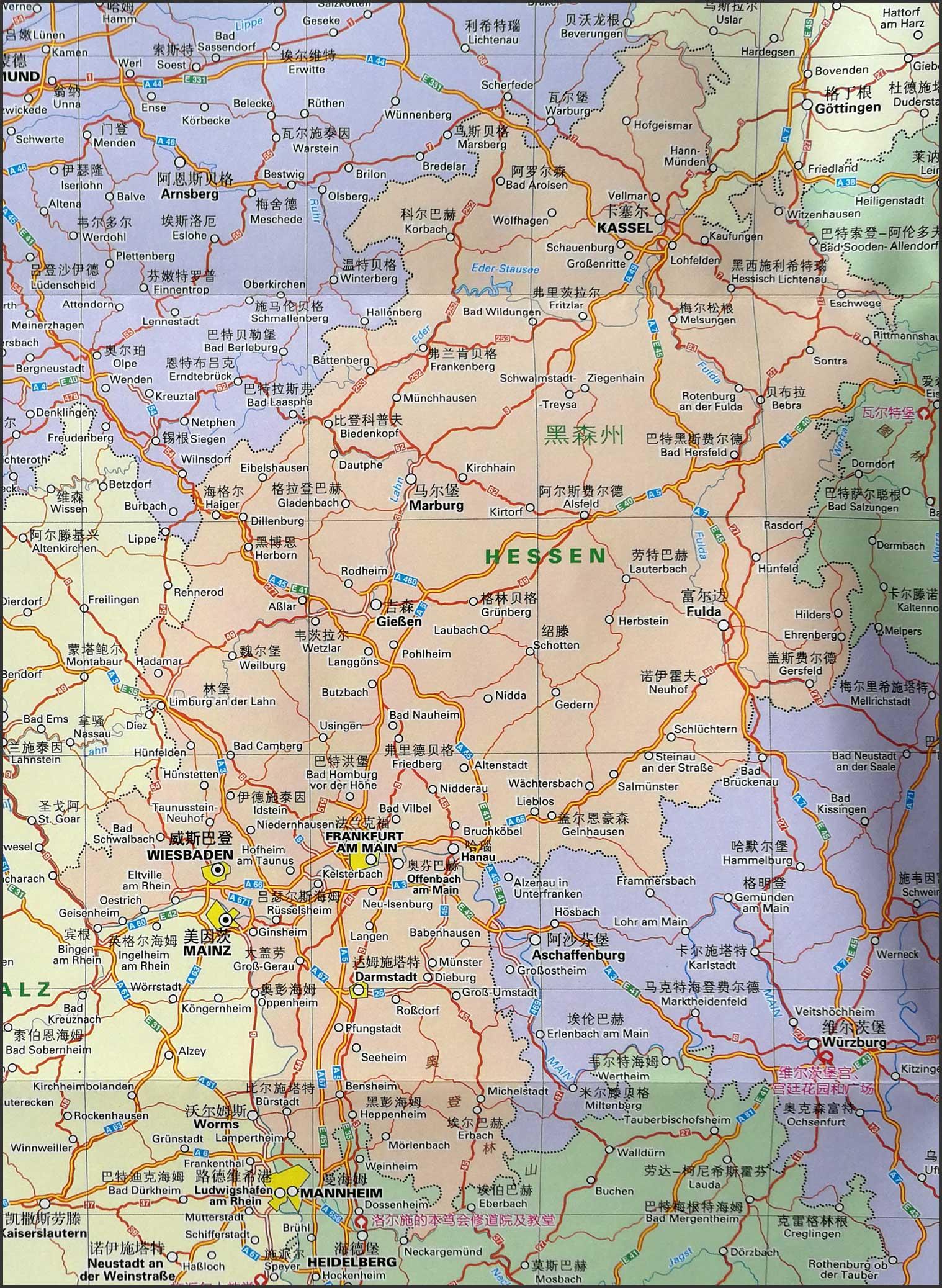 黑森州地图