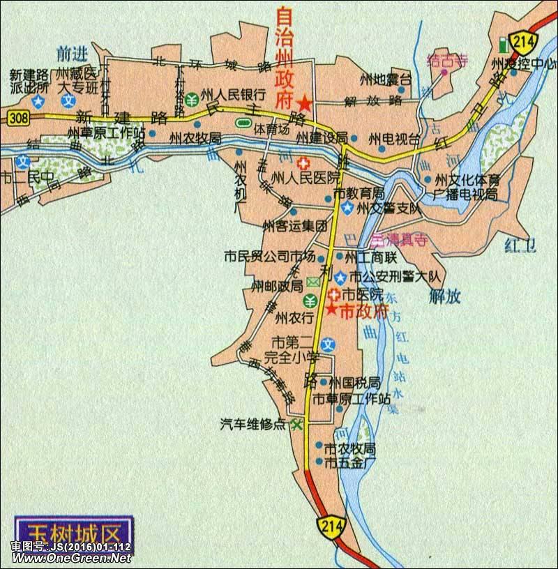 中国地图 青海 玉树 >> 玉树城区地图  栏目导航:西宁  海东  海北