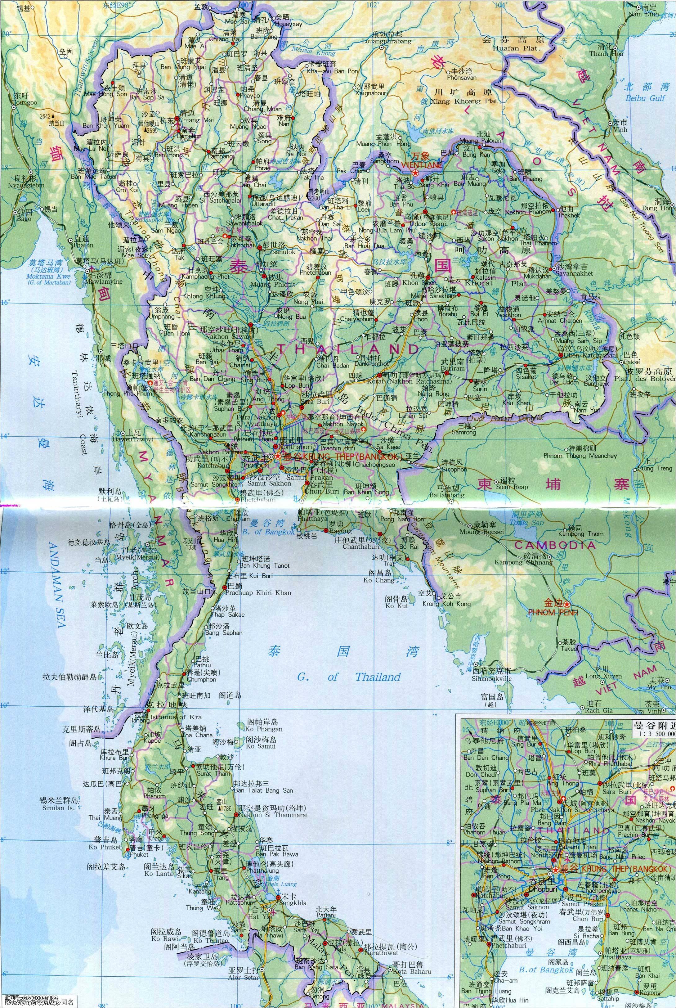 黎巴嫩地图_泰国地图地形版_泰国地图库_地图窝