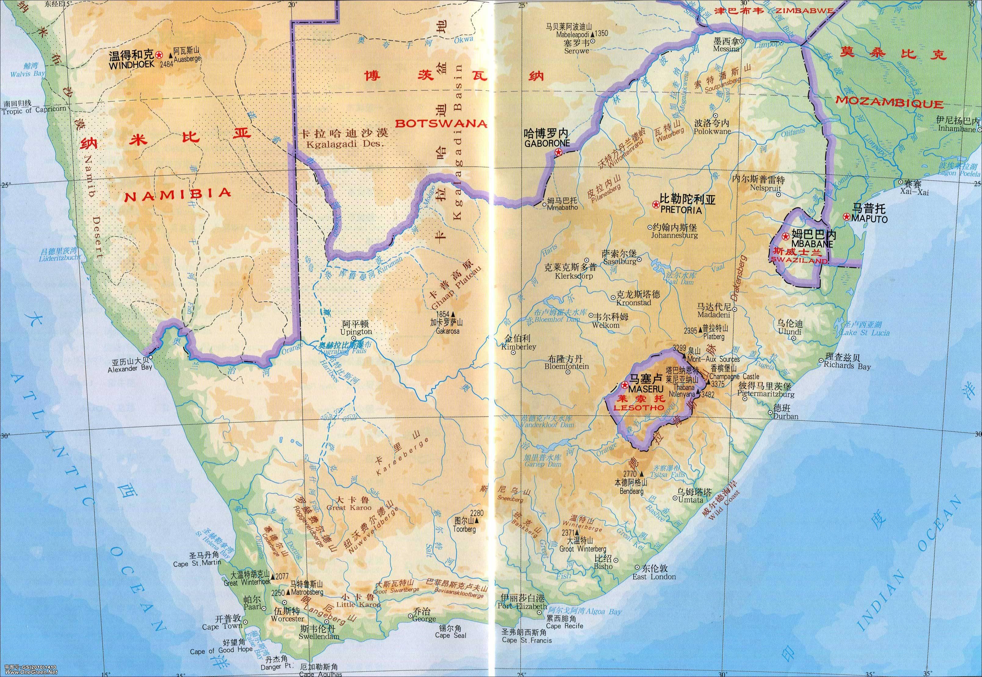 突尼斯旅游_南非地形地图_南非地图库_地图窝