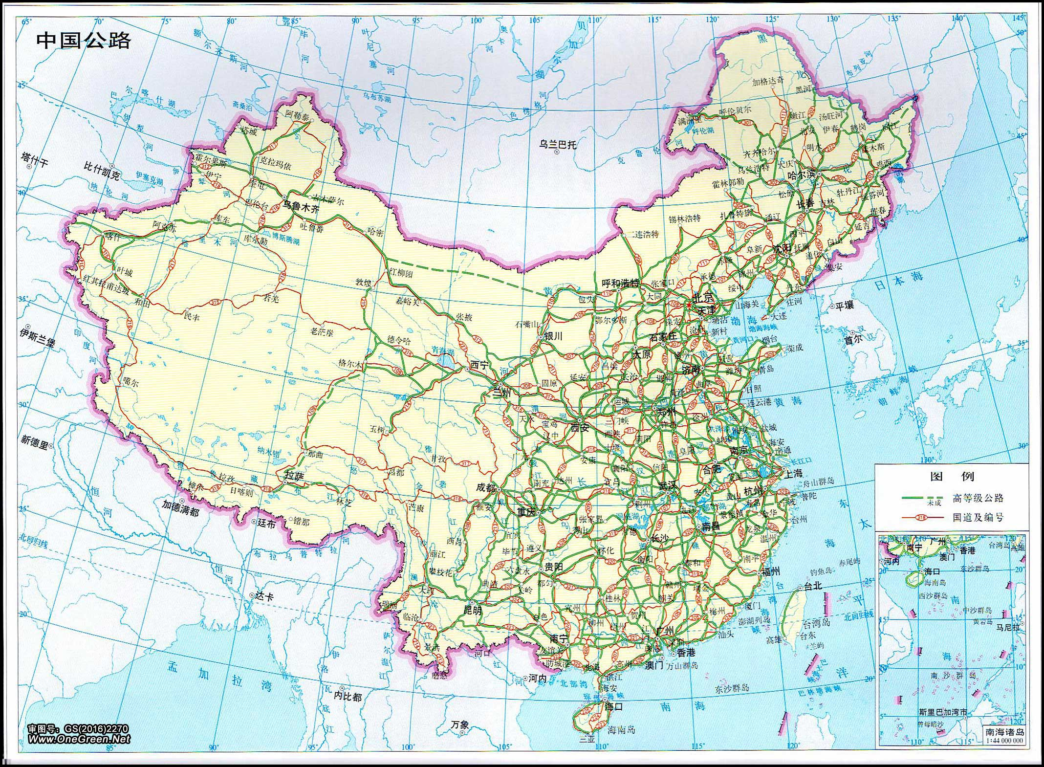 中国公路交通地图高清版_中国地图地图库_地图窝图片